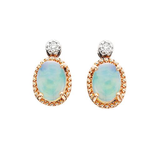 10kt Rose Gold Opal Earrings
