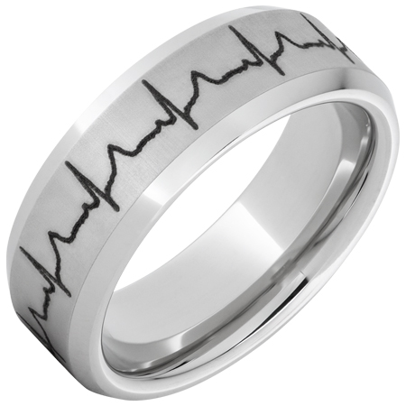 Mens Wedding Bands Serinium Beveled Edge Band With Heartbeat Laser Engraving
