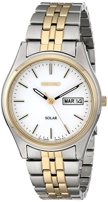 Don's Jewelry - Seiko Men's Two-Tone White Dial Solar Calendar Watch